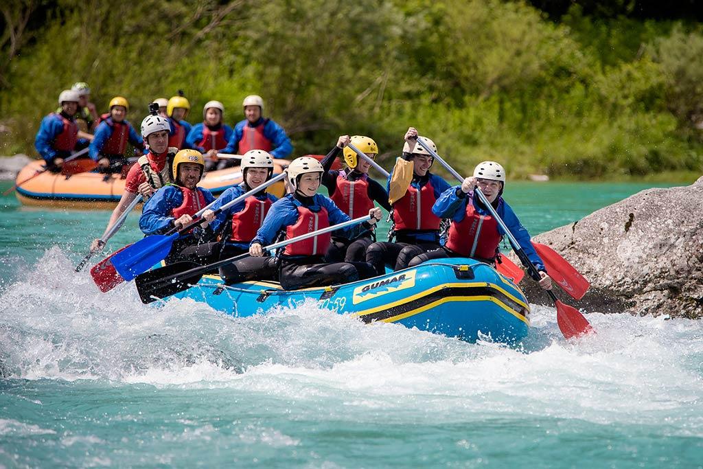 Skupine na raftingu Soča, Bovec, Slovenia